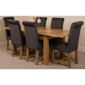 image-Kenia Dining Set with 6 Chairs Rosalind Wheeler Colour (Chair): Black, Table Size: 78cm H x 200cm L x 90cm W