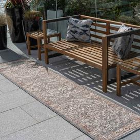 image-Grey Terracotta Distressed Oriental Weatherproof Outdoor Garden Runner Rug - Adana