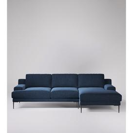 image-Swoon Almera Right Corner Sofa in Indigo Smart Wool With Black Feet