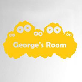 image-Personalised Monster Kids Door Room Wall Sticker Happy Larry Colour: Dark Yellow