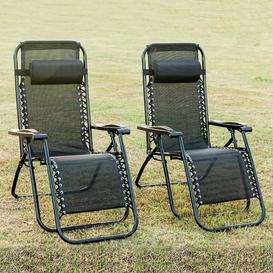 image-Set Of 2 Heavy Duty Textoline Zero Gravity Chairs Garden Outdoor Patio Sunloungers Folding Chairs