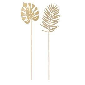 image-Palm and monstera stems for planting in gold metal (x2)