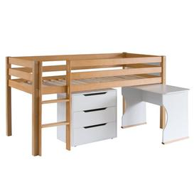 image-Karley European Single Mid Sleeper bed with chest of drawers & desk Isabelle & Max Colour Bed Frame: Natural Beech