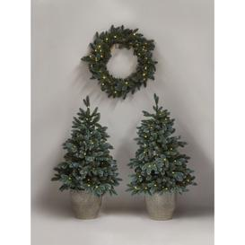 image-John Lewis & Partners Pair of Potted Pre-Lit Christmas Trees and Wreath, 3ft
