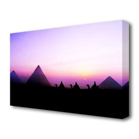 image-'Egyptian Pyramids At First Light Landscape' Photographic Print on Canvas East Urban Home Size: 50.8 cm H x 81.3 cm W