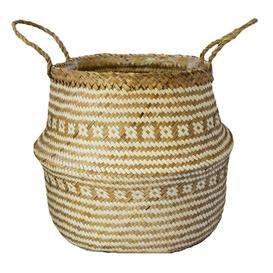 image-Small Seagrass Tribal White Lined Basket White