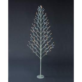 image-Festive 120cm Lit Flat Twig Tree - White