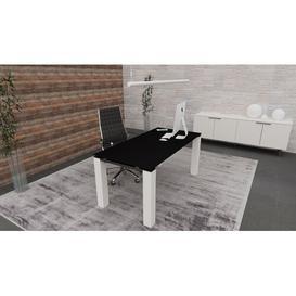 image-Bridgett Writing Desk Ebern Designs Colour (Top/Frame): Black/White, Size: 73.5cm H x 180cm W x 100cm D
