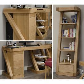 image-Z Solid Oak Furniture Large Computer Desk & Narrow Bookcase Set - PRE-ORDER