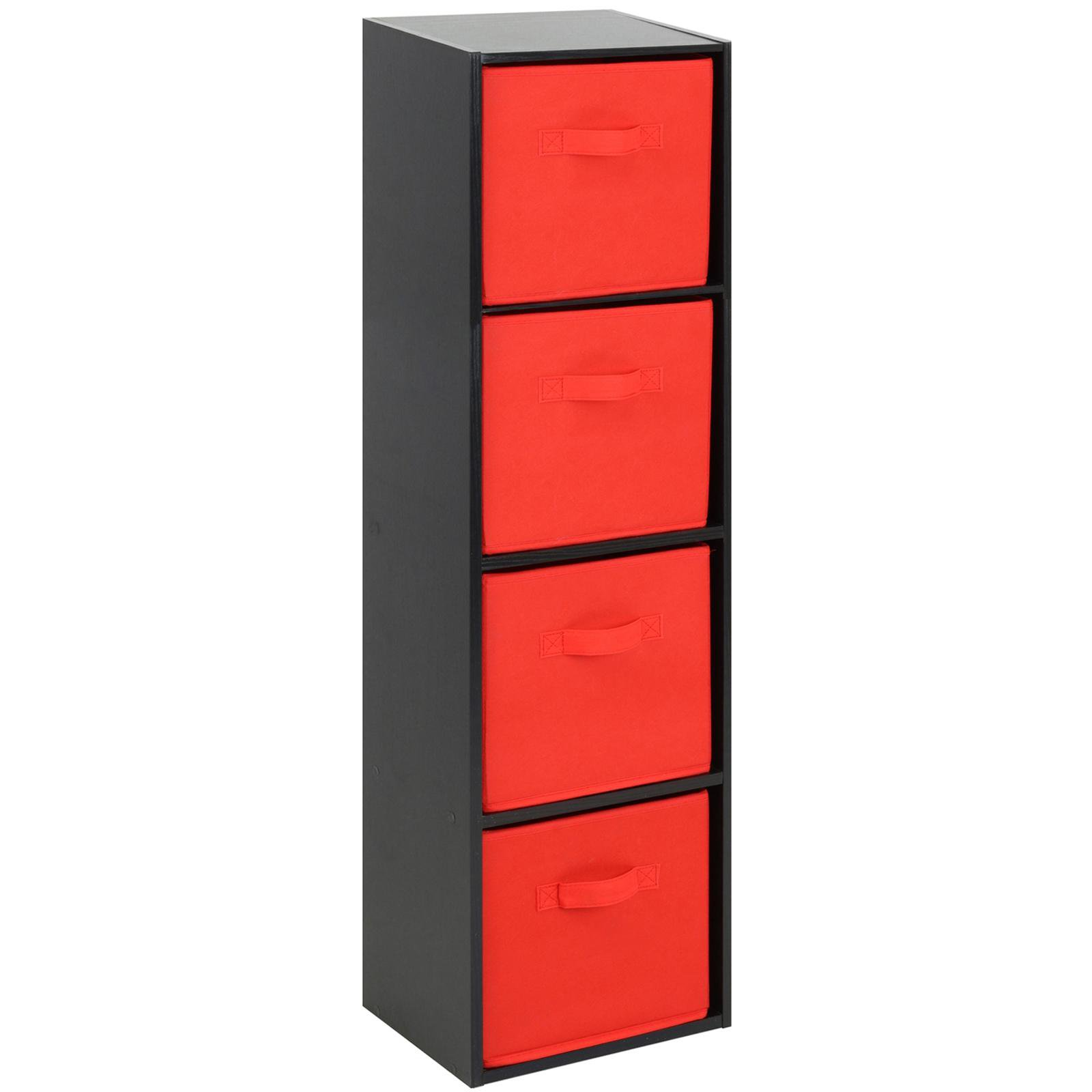 image-Hartleys Black 4 Tier Cube Storage Unit & 4 Handled Box Drawers - Red
