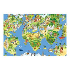 image-Great and Funny World Map 2.25m x 336cm Children's Wallpaper Roll East Urban Home