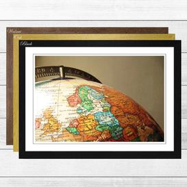 image-Globe World Map 1 Framed Photographic Print East Urban Home Frame Colour: Black