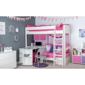 image-Kool European Single (90 x 200cm) High Sleeper Bed with Desk Stompa Colour (Fabric/Accessory): Pink