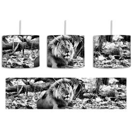 image-Lion in Rocky Landscape 1-Light Drum Pendant East Urban Home Shade colour: Black/White