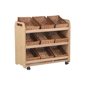 image-Playscapes Tilt Tote Storage Trolley With 9 Baskets, Maple