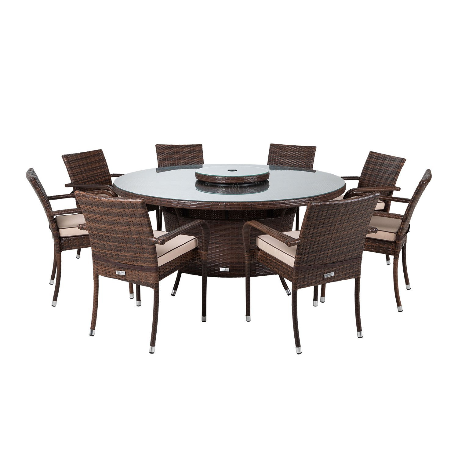image-Roma 8 Rattan Garden Chairs, Large Round Dining Table and Lazy Susan Set in Chocolate and Cream