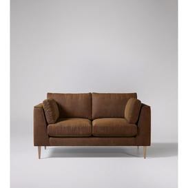 image-Swoon Nero Two-Seater Sofa in Tan Smart Leather With Light Feet