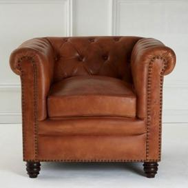 image-Buffaloes Leather Armchair In Light Brown