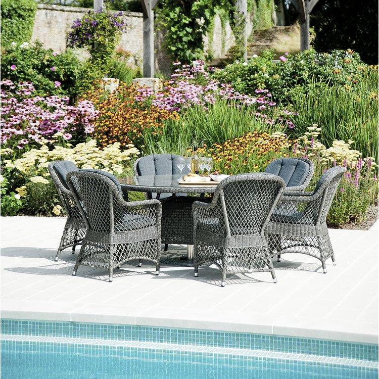 image-Alexander Rose Monte Carlo Garden 6 Open Weave Chair Round Dining Set