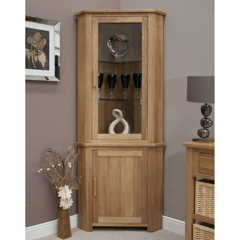 image-Opus Solid Oak Furniture Corner Display Unit