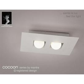 image-M0127 Cocoon 2 Light Silver Flush Wall Or Ceiling Lamp