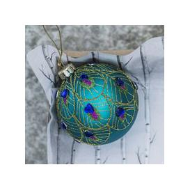 image-Peacock Feather Glass Bauble