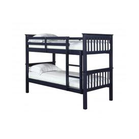 image-Liam Solid Pine Navy Bunk Bed With 2 Single Beds