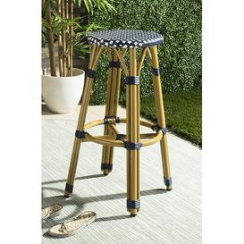 image-Vaucher 76cm Bar Stool Sol 72 Outdoor Seat Colour: Navy/White
