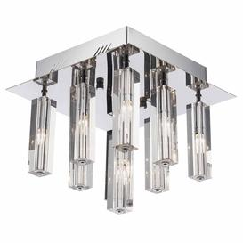 image-Dar GAL1350/LED Galileo Nine Light Flush Ceiling Light In Chrome With Crystal Shades