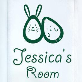 image-Bunny Rabbit Egg and Chick Kids Door Room Wall Sticker Happy Larry Colour: Dark Green