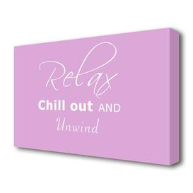 image-'Bathroom Quote Relax Chill Out' Textual Art Print on Canvas in Light Pink/White East Urban Home Size: 81.3 cm H x 121.9 cm W