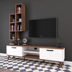 """image-Lathgertha Entertainment Unit for TVs up to 55"""" Mercury Row Colour: White/Walnut/Black"""