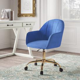 image-Tennison Desk Chair Hykkon Upholstery Colour: Blue