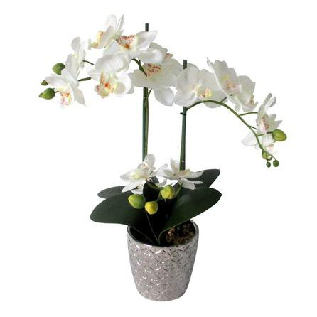 image-Artificial Orchid White In Silver Pot 28cm White