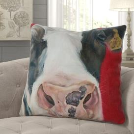 image-Cy Faux Leather Cushion with Filling Happy Larry Size: 58 x 58cm