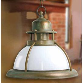 image-Baia 1 Light Outdoor Pendant Moretti Luce Finish: Antique brass, Colour (glass): Blue