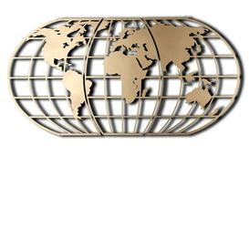 image-World Map Globe Wall Décor Brayden Studio Finish: Gold