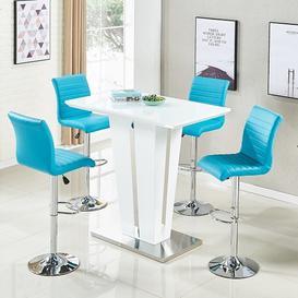 image-Memphis Glass Bar Table Gloss White 4 Ripple Turquoise Stools