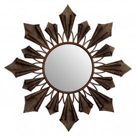 image-Varian Sunburst Wall Bedroom Mirror In Antique Gold Frame