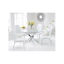 image-Mark Harris Daytona 110cm Glass Round Dining Set - 4 California White Dining Chairs
