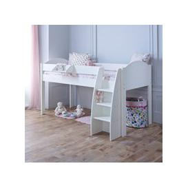 image-Eli Kids Mid Sleeper Bed in White - White & Lilac