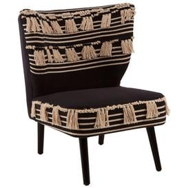 image-Cafenos Moroccan Cotton Fabric Bedroom Chair In Black