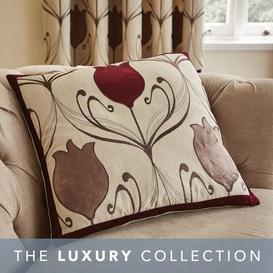 image-Lalique Wine Flower Cushion Dark Red