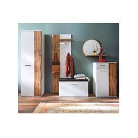 image-Granada Hallway Set In White Gloss And Oak With Wardrobe