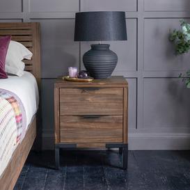 image-Solid Hardwood and Metal Bedside Tables - Bedside Table - Detroit Range - Oak Furnitureland