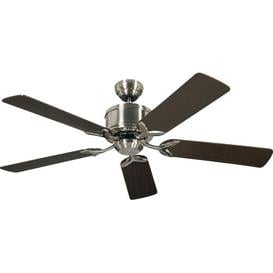 image-132cm Allman 5 Blade Ceiling Fan with Remote Ophelia & Co. Finish: Brushed Chrome with Wenge and Maple Blades