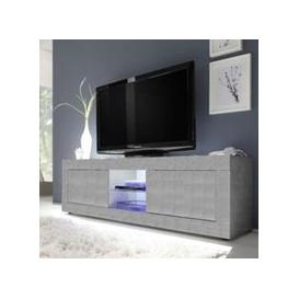 image-Taylor LED Wooden Large TV Stand In Concrete With 2 Doors