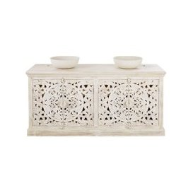 image-Aged Effect White Carved Solid Mango Wood Double Vanity Unit Kerala
