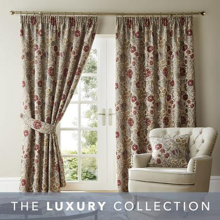 image-Betsy Natural Chenille Jacquard Pencil Pleat Curtains Natural
