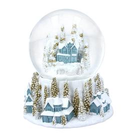 image-Gisela Graham - Village Scene Snow Globe - White/Blue